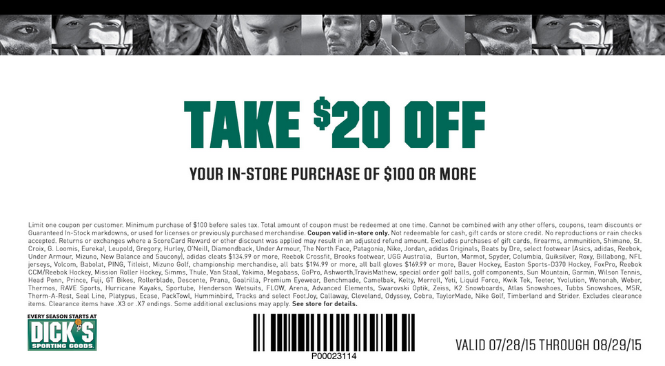 Dicks Coupon October 2016 $20 off $100 at Dicks Sporting Goods