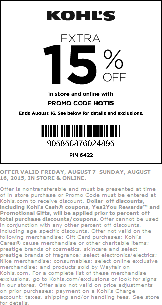 Kohls Coupon May 2018 15% off at Kohls, or online via promo code HOT15