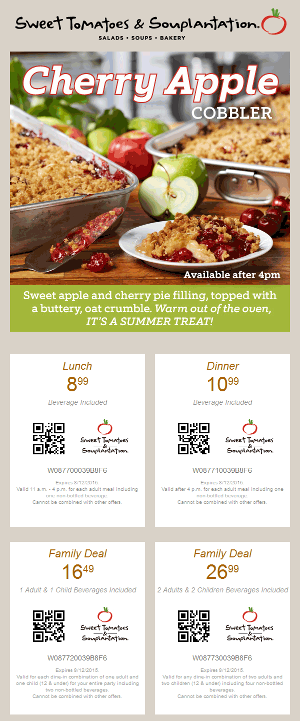 Sweet Tomatoes Coupon October 2018 $9 lunch buffet + drink & more at Sweet Tomatoes & Souplantation