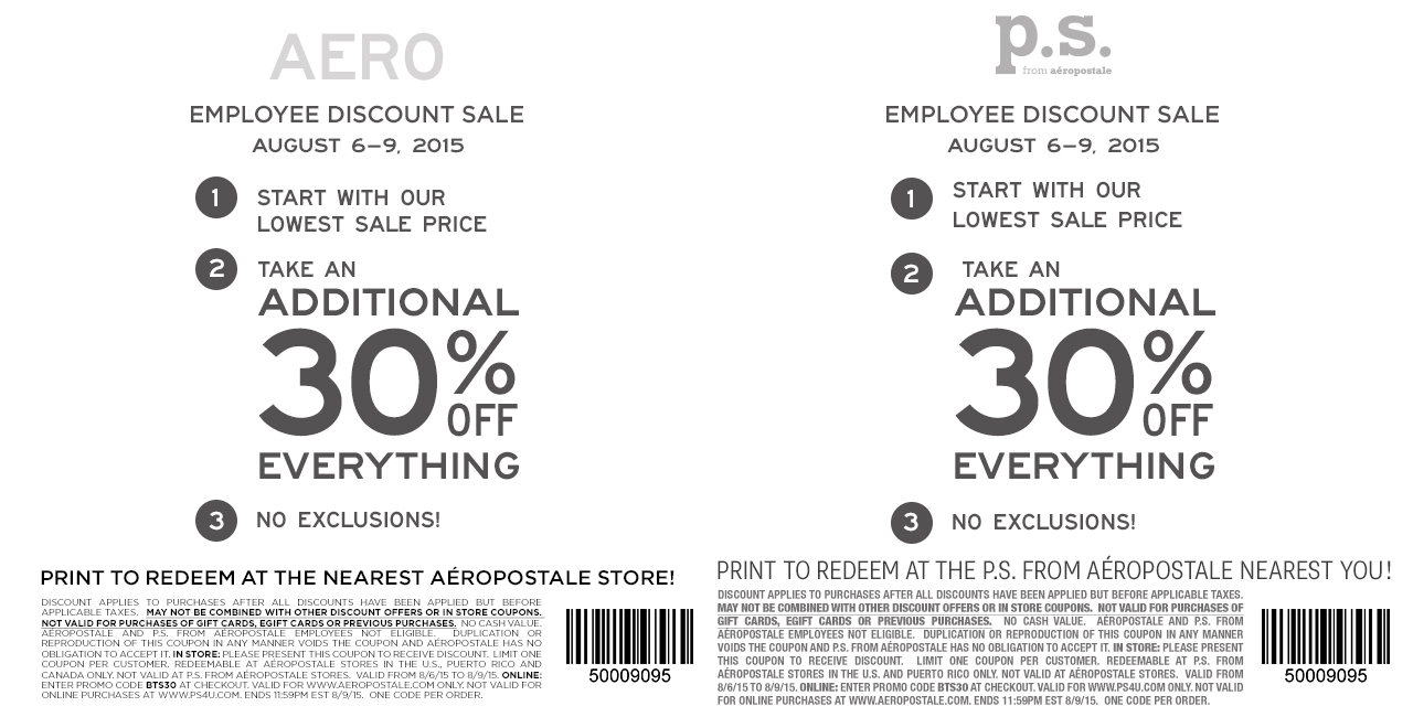 Aeropostale Coupon November 2017 30% off everything at Aeropostale & P.S. from Aeropostale, or online via promo code BTS30