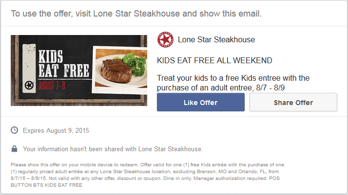 Lone Star Steakhouse Coupon March 2017 Kids eat free this weekend at Lone Star Steakhouse