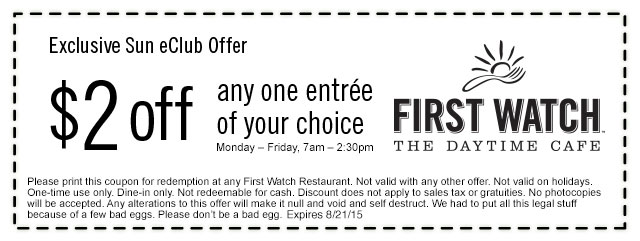 First Watch Coupon November 2017 $2 off an entree at First Watch daytime cafe