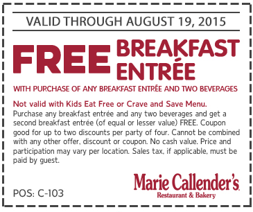Marie Callenders Coupon May 2018 Second breakfast free at Marie Callenders restaurant & bakery