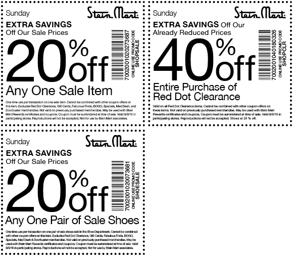 Stein Mart Coupon June 2017 Extra 20% off a sale item & 40% off clearance today at Stein Mart, or online via promo code SHOPSALE