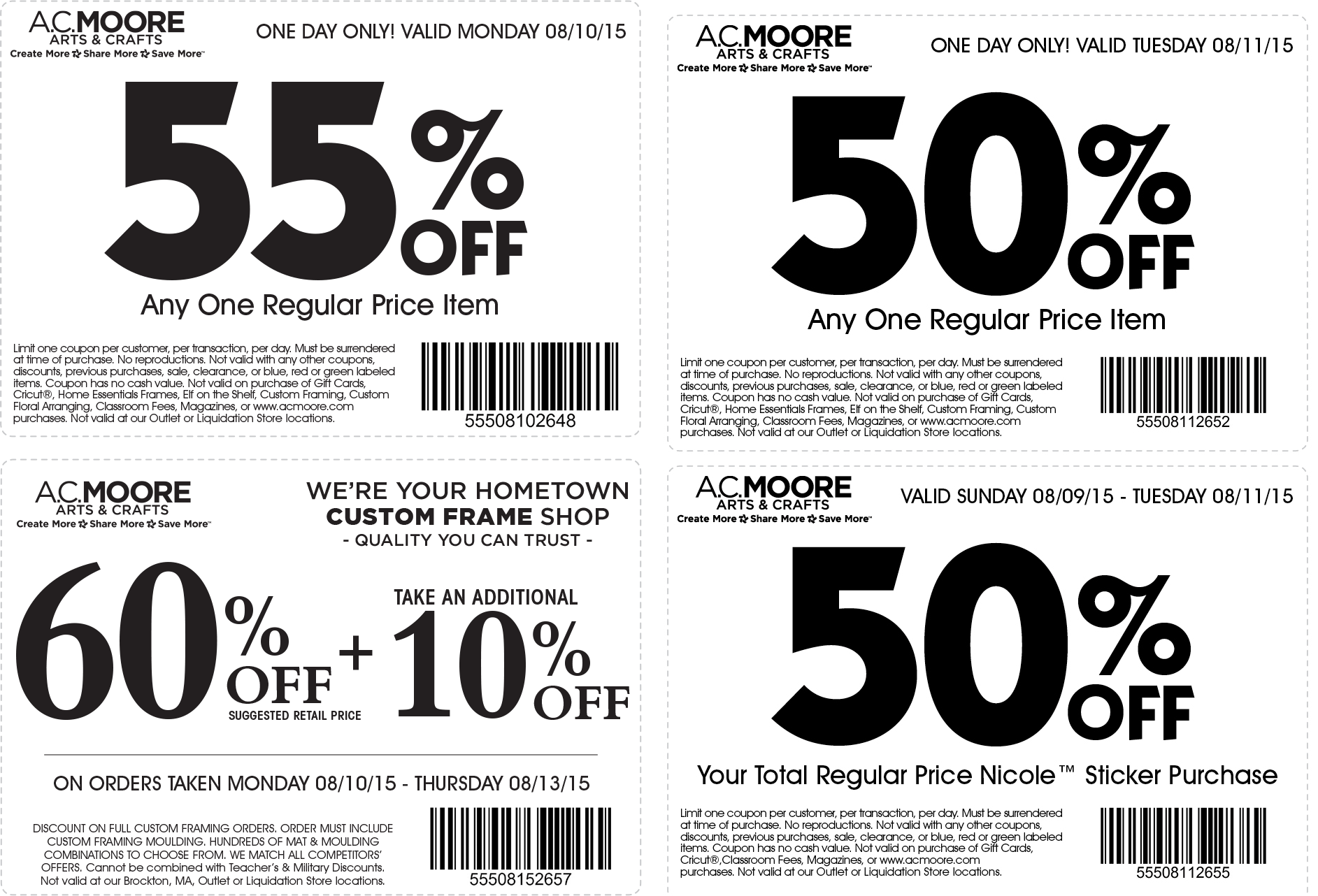 A.C. Moore Coupon February 2019 55% off a single item & more at A.C. Moore crafts