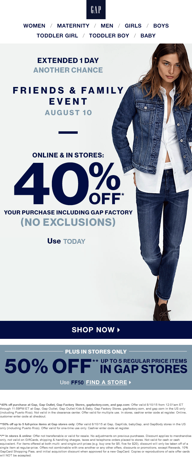Gap Coupon February 2017 50% off 5 items today at Gap