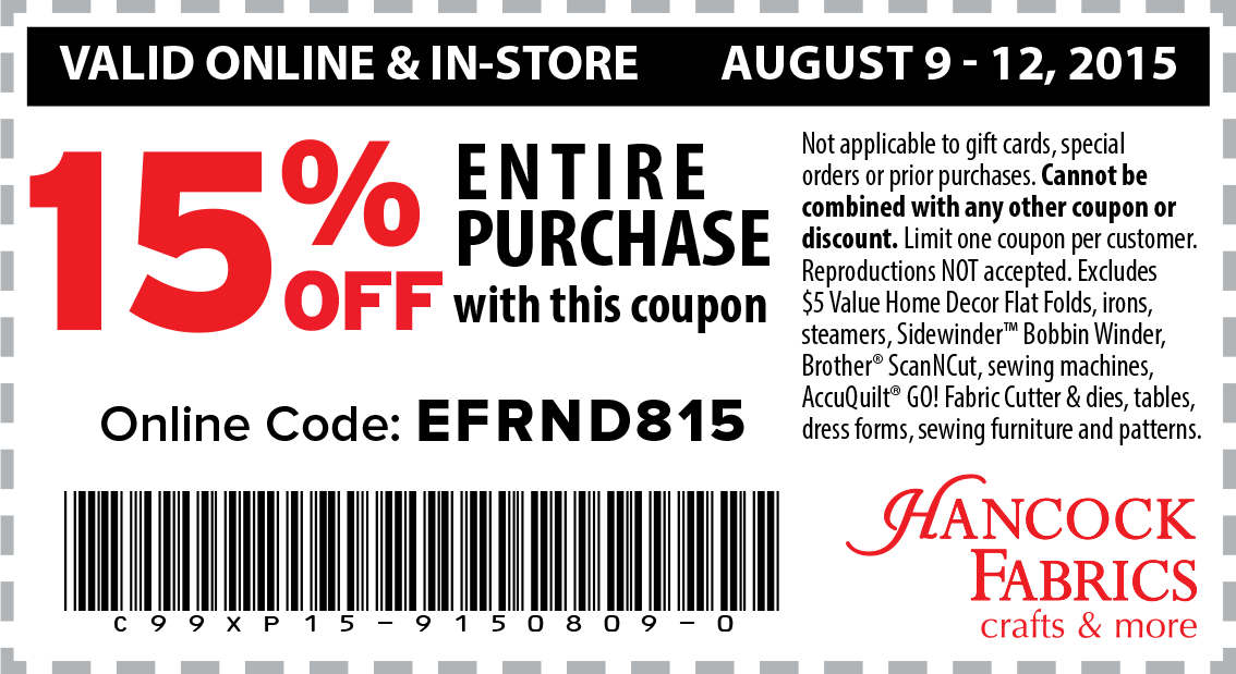 Hancock Fabrics Coupon November 2017 15% off at Hancock Fabrics & crafts, or online via promo code EFRND815