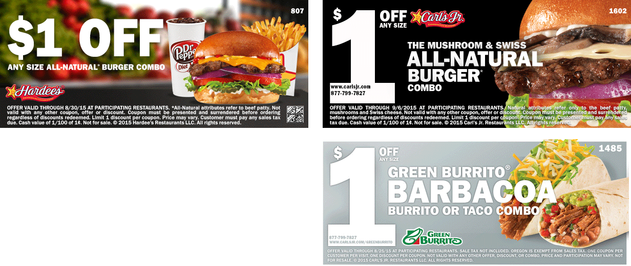 Hardees Coupon October 2016 Shave a buck off your burger combo at Hardees & Carls Jr.