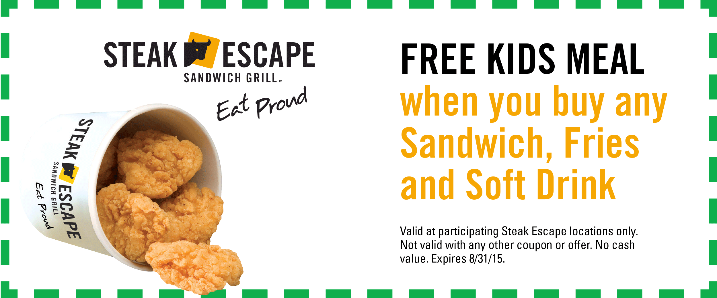 Steak Escape Coupon February 2019 Free kids meal with yours at Steak Escape sandwich grill