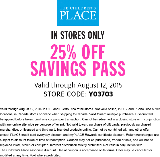 The Childrens Place Coupon October 2018 25% off at The Childrens Place