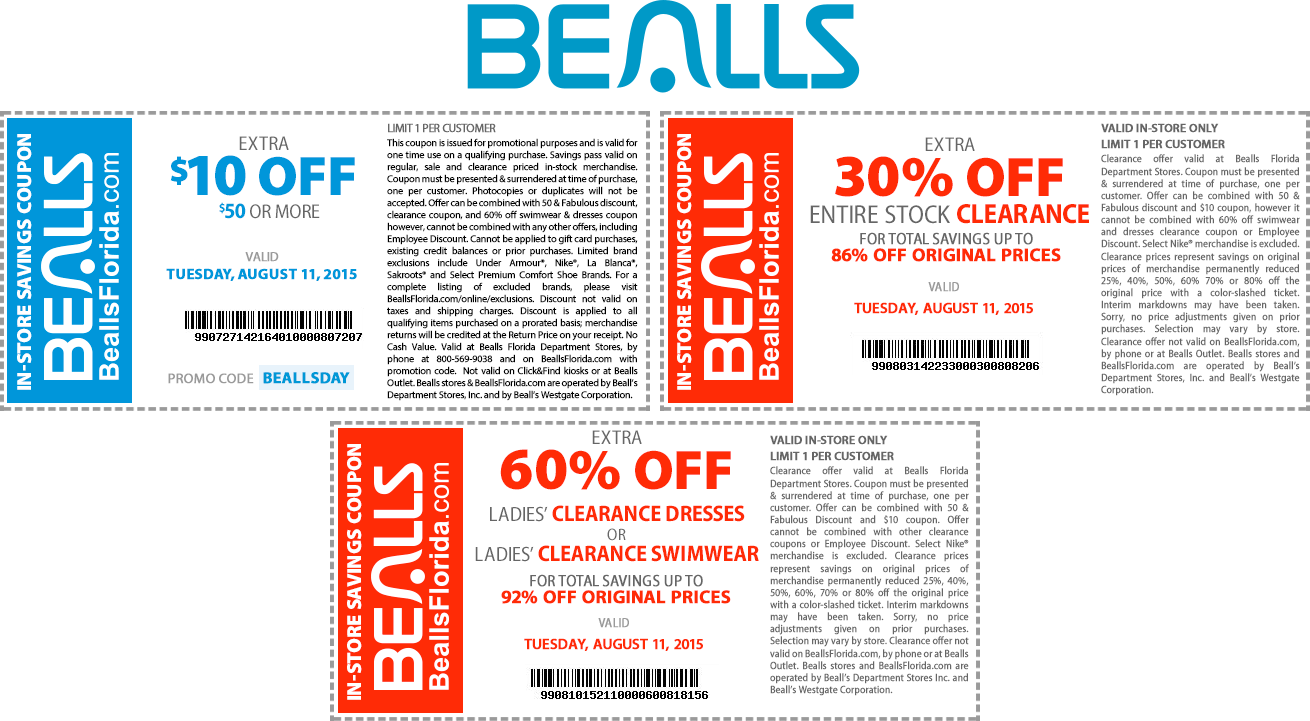 Bealls Coupon November 2017 $10 off $50 & more today at Bealls, or online via promo code BEALLSDAY