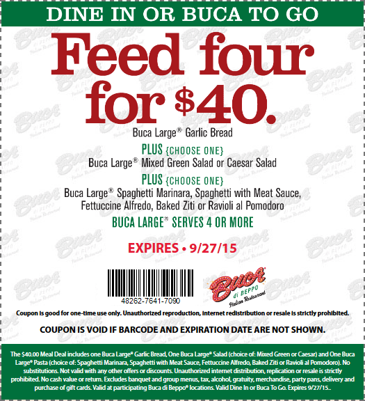 Buca di Beppo Coupon March 2019 Baked pasta + garlic bread + salad for four $40 at Buca di Beppo restaurants