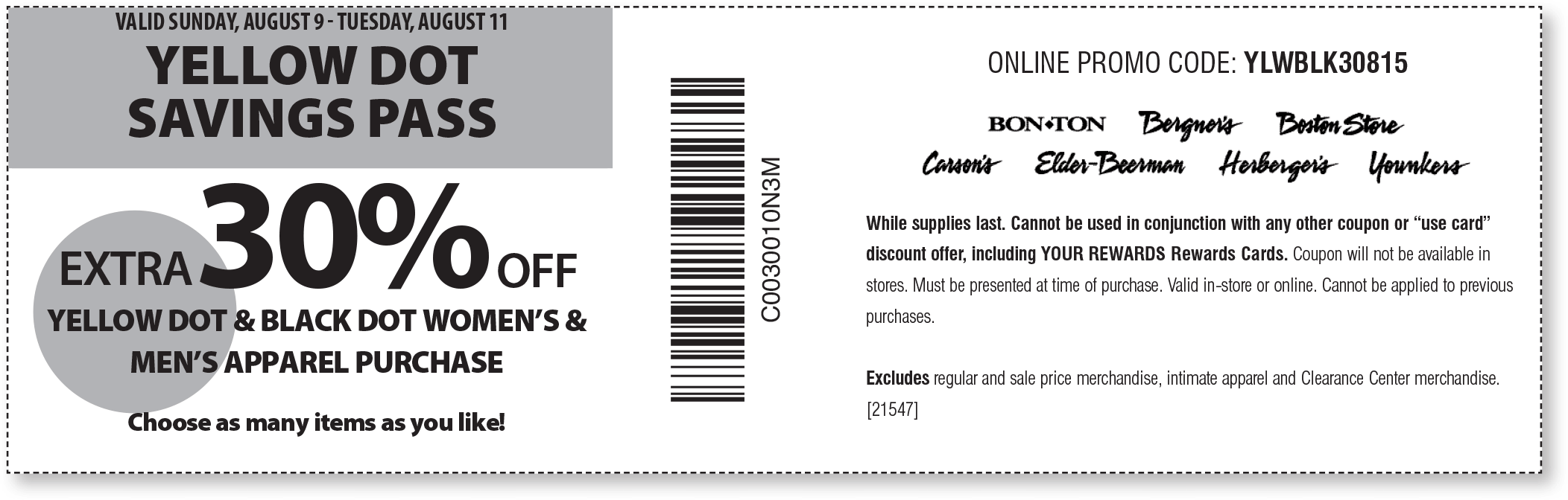 Carsons Coupon January 2017 Extra 30% off yellow dot at Carsons, Bon Ton & sister stores, or online via promo code YLWBLK30815