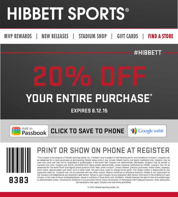 Hibbett Sports Coupon September 2018 20% off everything at Hibbett Sports