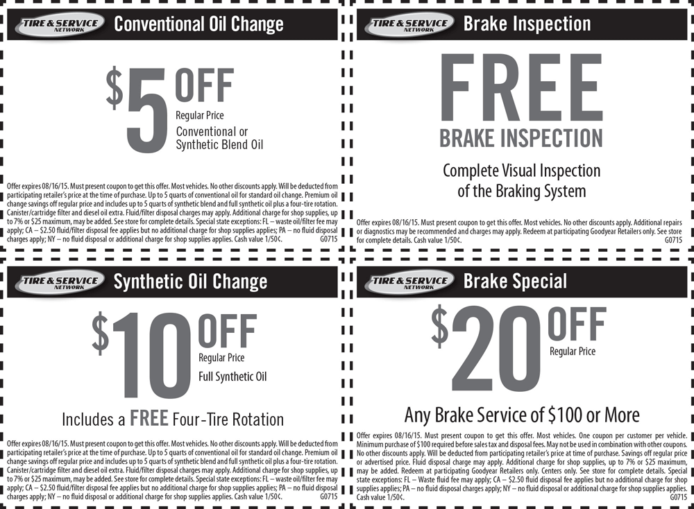 Goodyear.com Promo Coupon $5-$10 off an oil change Goodyear