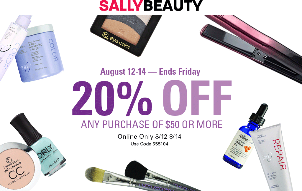 Sally Beauty Coupon December 2018 20% off $50 online at Sally Beauty via promo code 555104