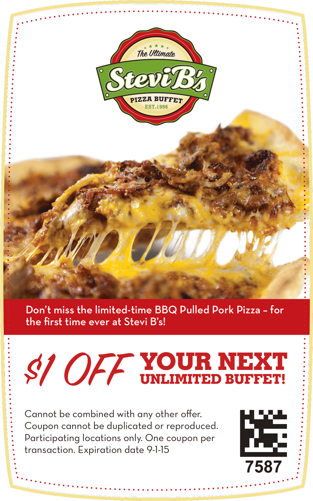 Stevi Bs Coupon July 2017 Shave a buck off your buffet at Stevi Bs pizza