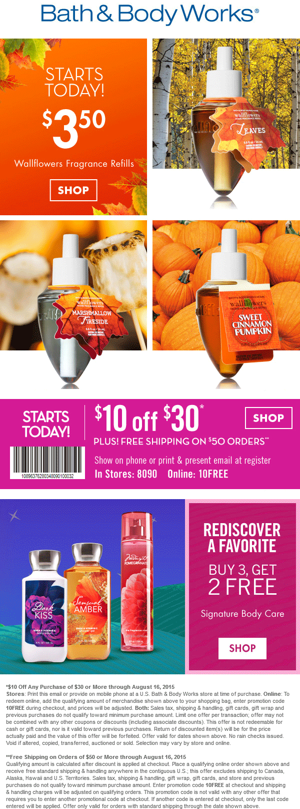 Bath & Body Works Coupon October 2016 $10 off $30 at Bath & Body Works, or online via promo code 10FREE