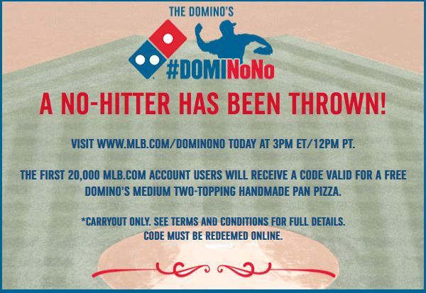 Dominos Coupon March 2017 Free Dominos pizza to 1st 20k MLB fans today at 3pm EST