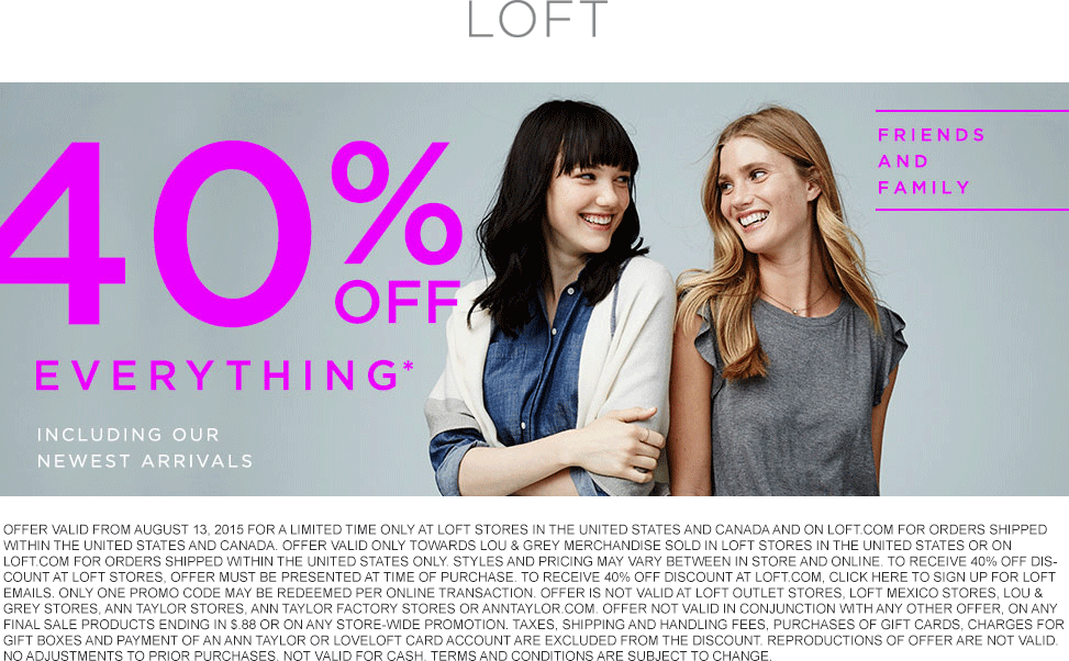 LOFT Coupon February 2017 40% off everything at LOFT, or online via promo code SHAREIT
