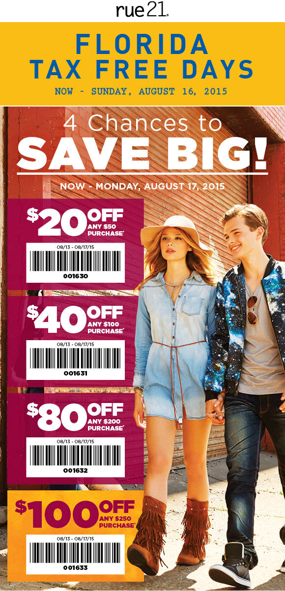 Rue21 Coupon May 2017 $20 off $50 & more at rue21, or online via promo code 001630