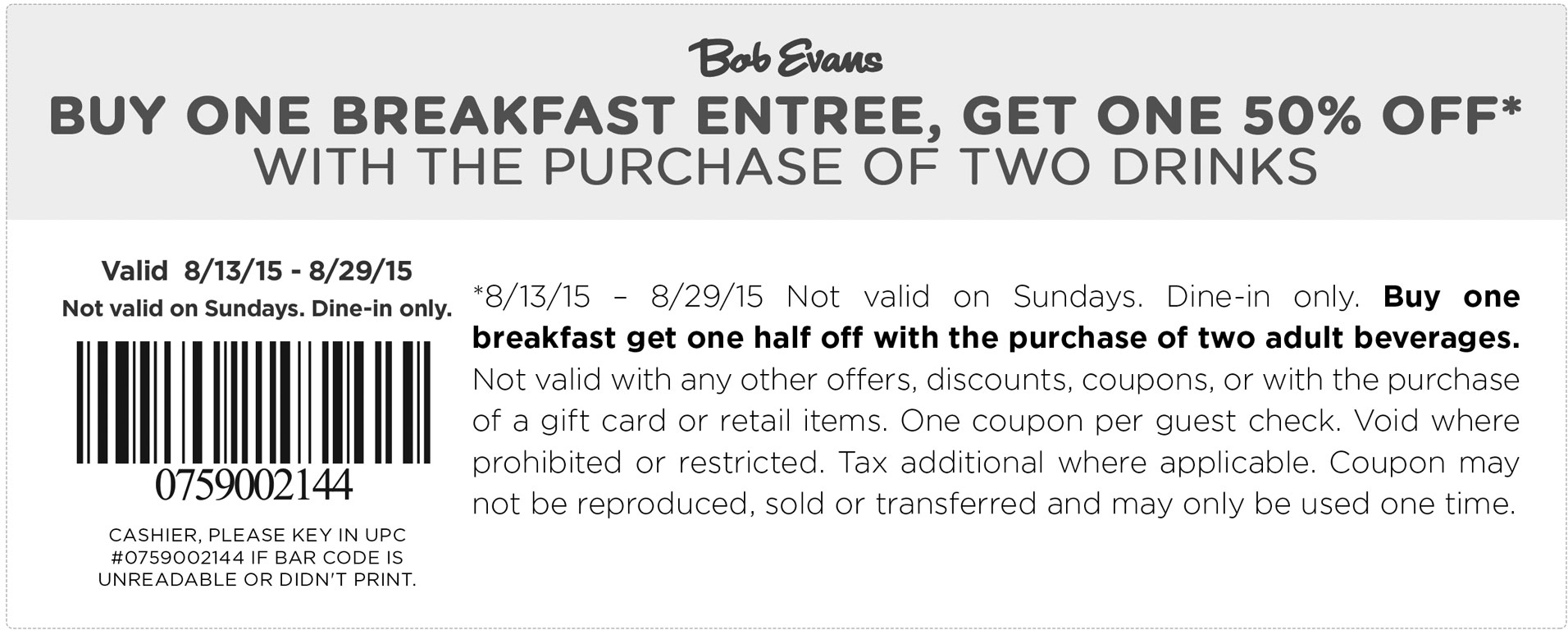 Bob Evans Coupon September 2017 Second breakfast 50% off at Bob Evans