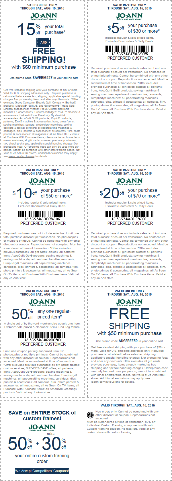 Jo-Ann Fabric Coupon September 2017 50% off a single item & more at Jo-Ann Fabric, or 15% off online via promo code SAVEBIG227