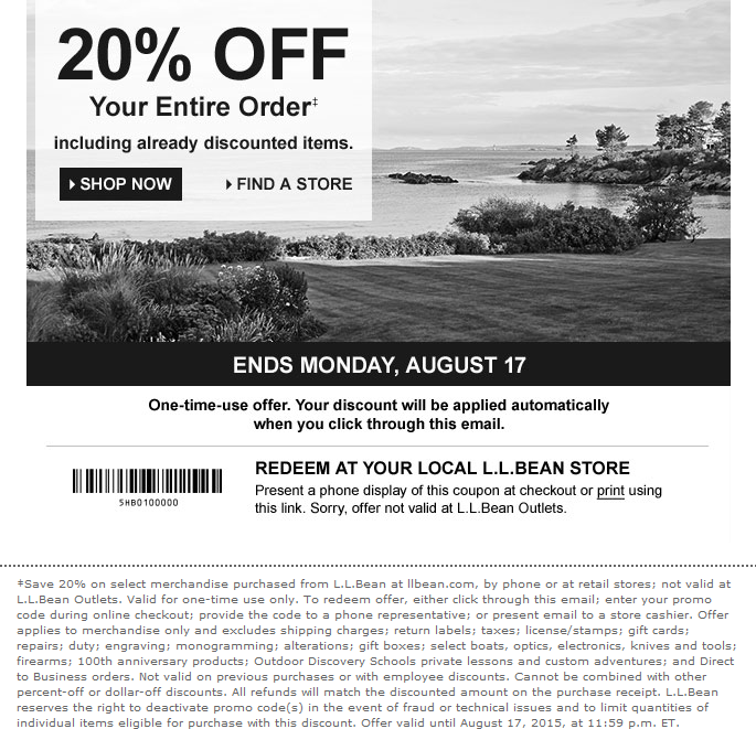 L.L. Bean Coupon June 2019 20% off everything at L.L. Bean