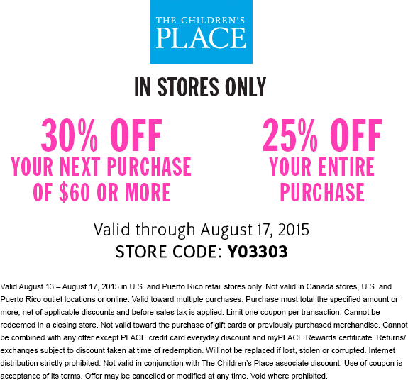 The Childrens Place Coupon November 2018 25-30% off everything at The Childrens Place