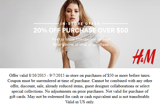H&M Coupon March 2017 20% off $50 at H&M