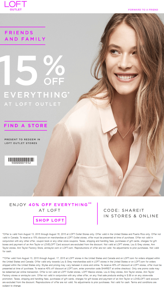 LOFT Outlet Coupon April 2017 Extra 15% off everything at LOFT Outlet locations