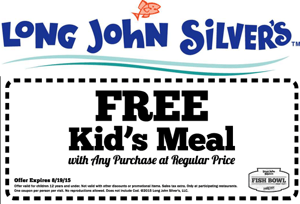 Long John Silvers Coupon September 2018 Free kids meal with yours at Long John Silvers