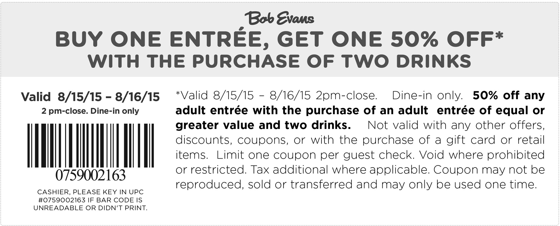 Bob Evans Coupon January 2019 Second dinner 50% off today at Bob Evans