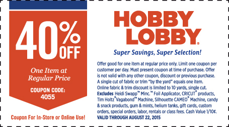 Hobby Lobby Coupon October 2016 40% off a single item at Hobby Lobby, or online via promo code 4055
