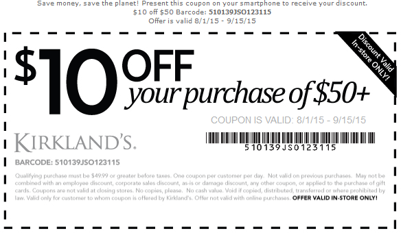 Kirklands Coupon April 2017 $10 off $50 at Kirklands