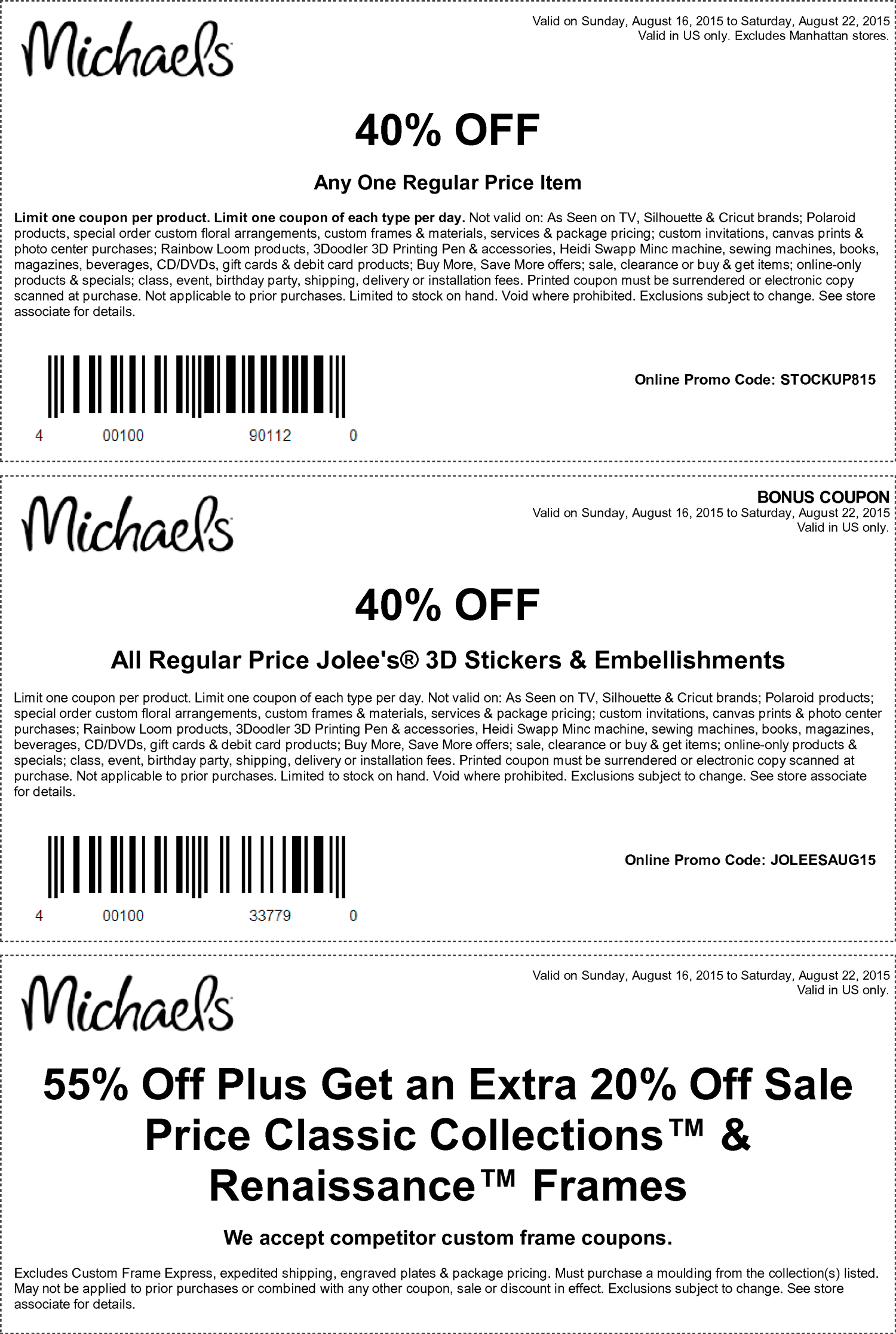 Michaels Coupon August 2017 40% off a single item & more at Michaels, or online via promo code STOCKUP815