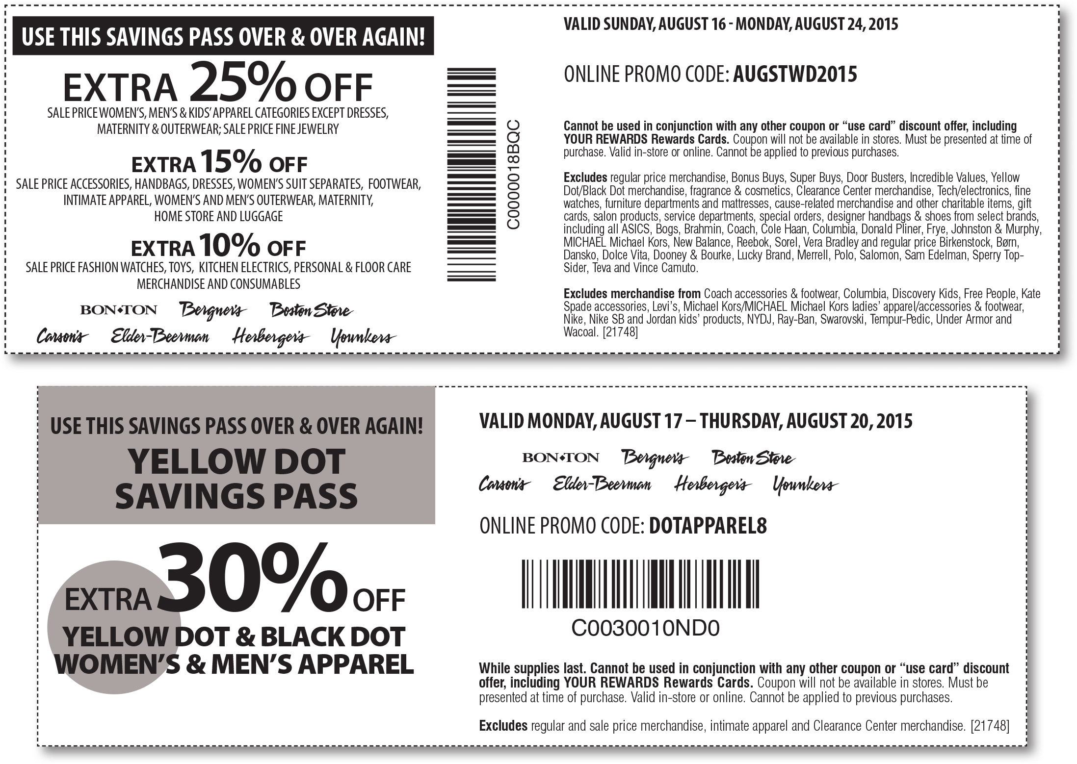 Carsons Coupon February 2018 Extra 25% off & more at Carsons, Bon Ton & sister stores, or online via promo code AUGSTWD2015
