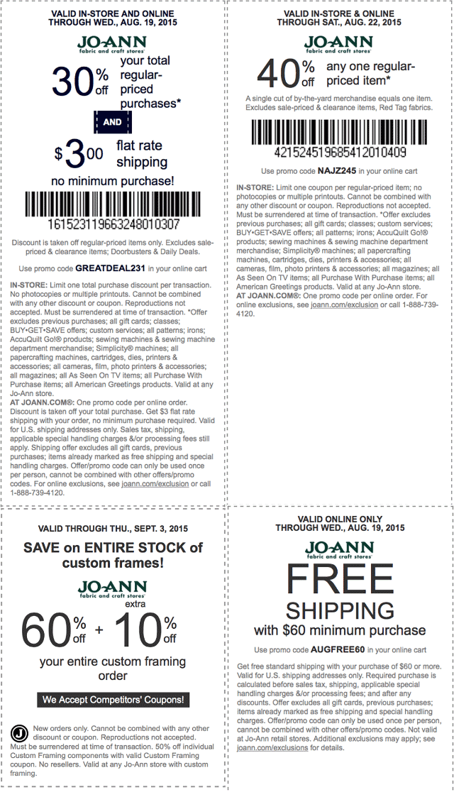 Jo-Ann Fabric Coupon September 2018 40% off a single item & more at Jo-Ann Fabric, or online via promo code NAJZ245