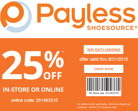 Payless Shoesource Coupon September 2017 25% off at Payless Shoesource, or online via promo code 251463310