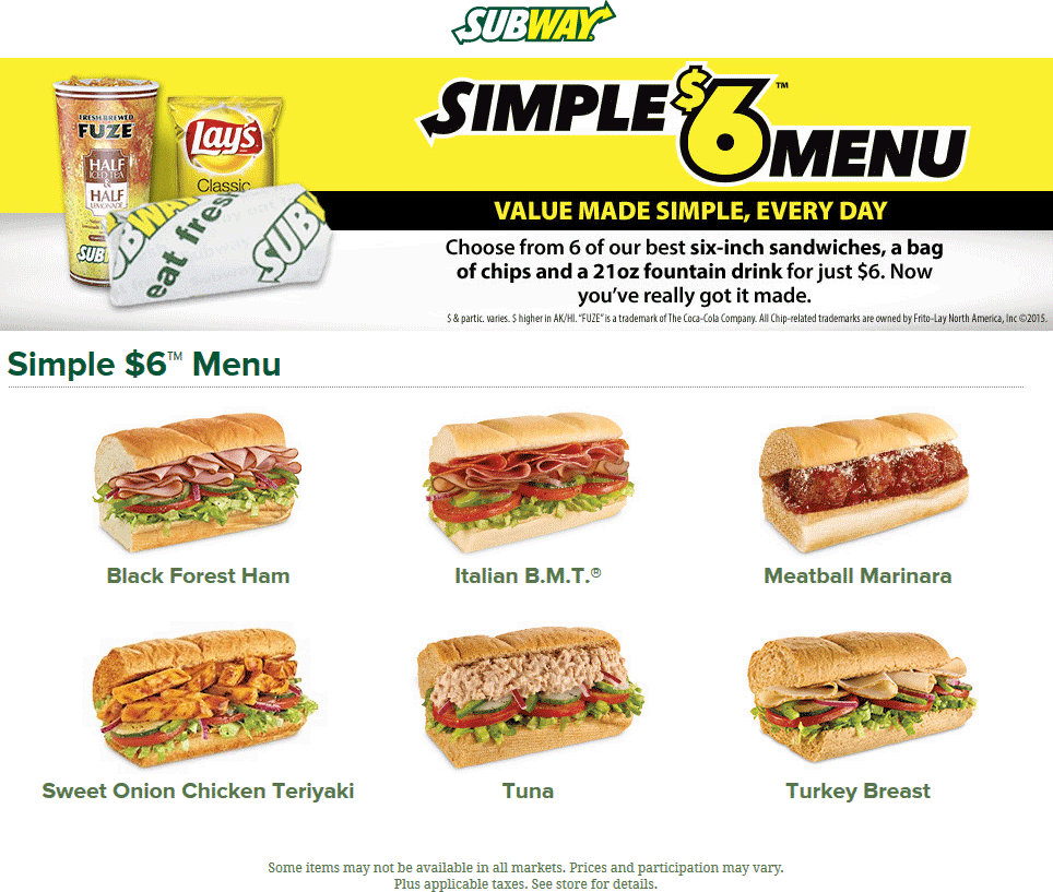 Subway Coupon August 2017 Six-inch + chips + drink combo for $6 bucks going on at Subway
