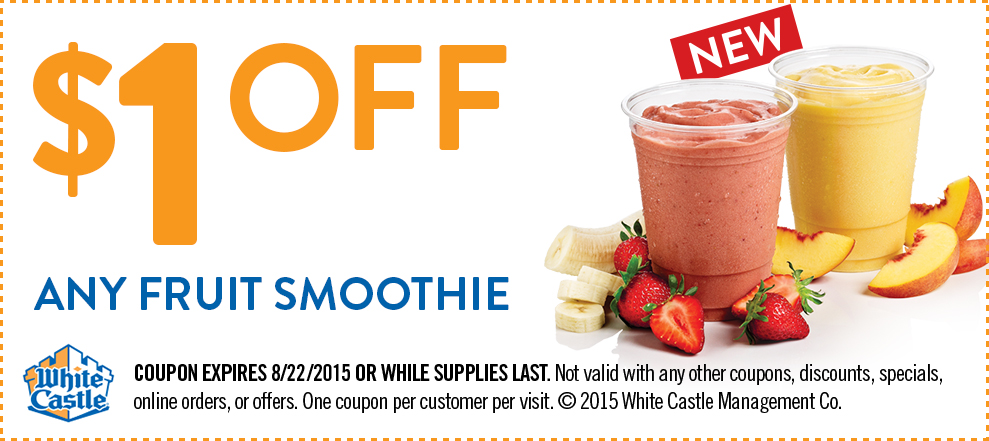 White Castle Coupon December 2018 Shave a buck off your smoothie at White Castle
