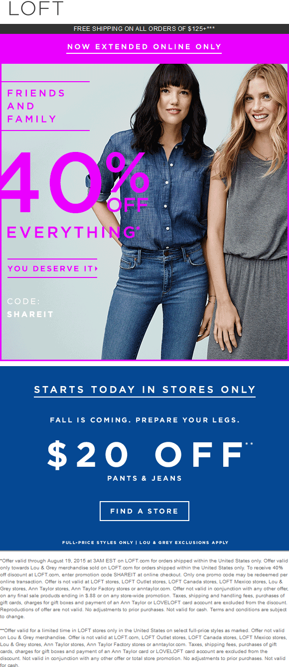 LOFT Coupon September 2017 40% off everything online at LOFT