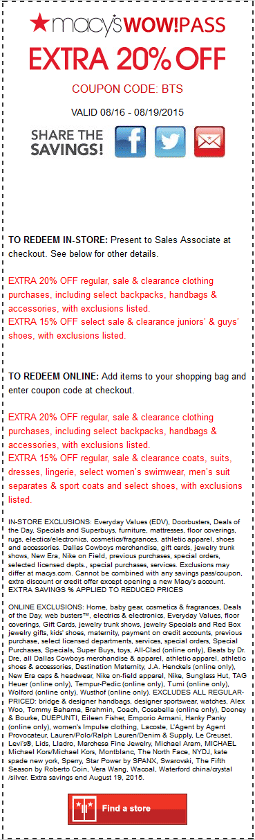 Macys Coupon February 2019 Extra 20% off at Macys, or online via promo code BTS