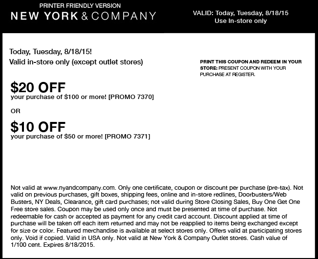 New York & Company Coupon March 2018 $10 off $50 & more today at New York & Company
