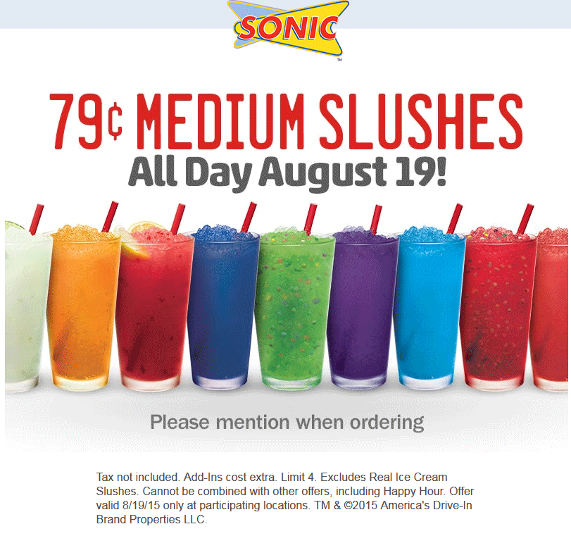 Sonic Drive-In Coupon December 2016 Cheap slushies Wednesday at Sonic Drive-In