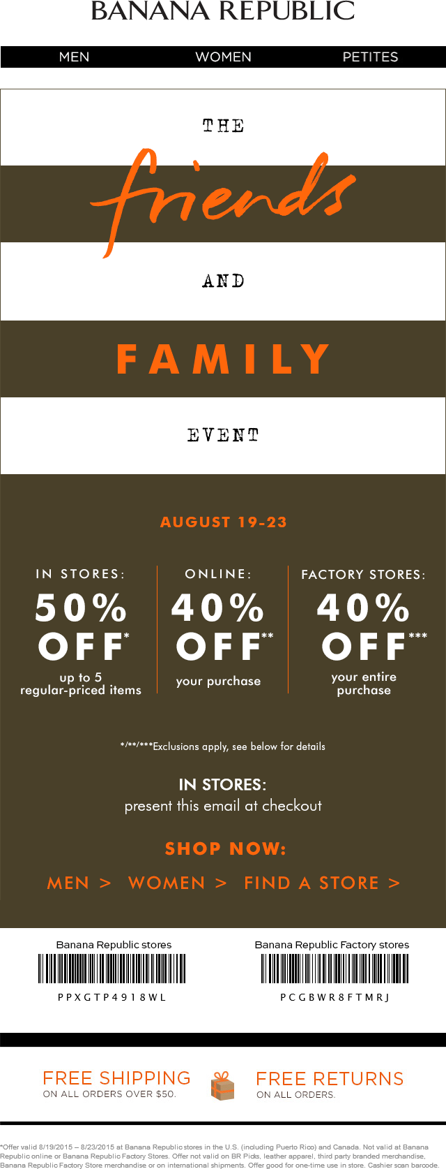 Banana Republic Coupon May 2018 40-50% off at Banana Republic & factory locations, or 30% online via promo code BRSALE30