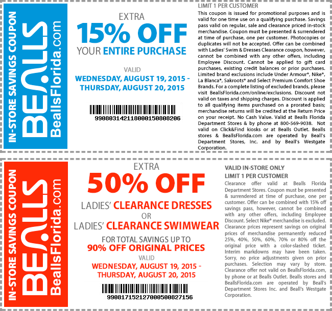 Bealls Coupon February 2017 15% off & more at Bealls, or online via promo code TEAM
