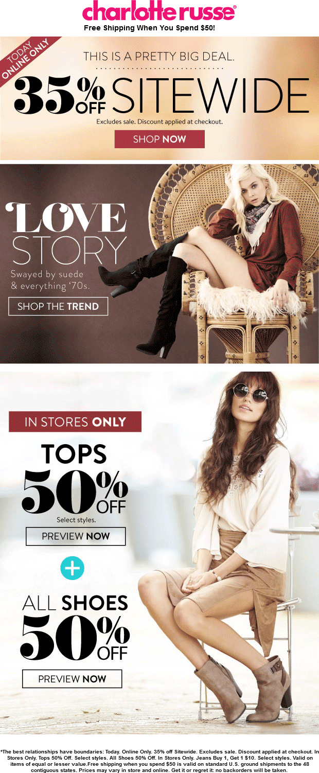 Charlotte Russe Coupon November 2018 35% off everything online today at Charlotte Russe