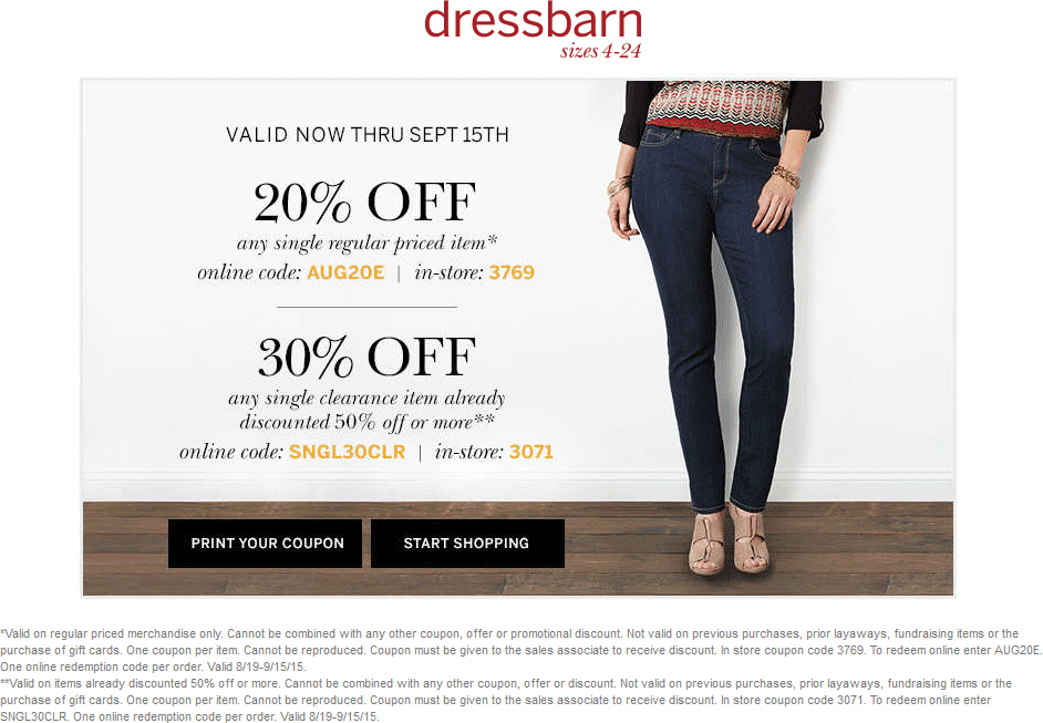 Dressbarn Coupon November 2018 20% off a single item at Dressbarn, or online via promo code AUG20E