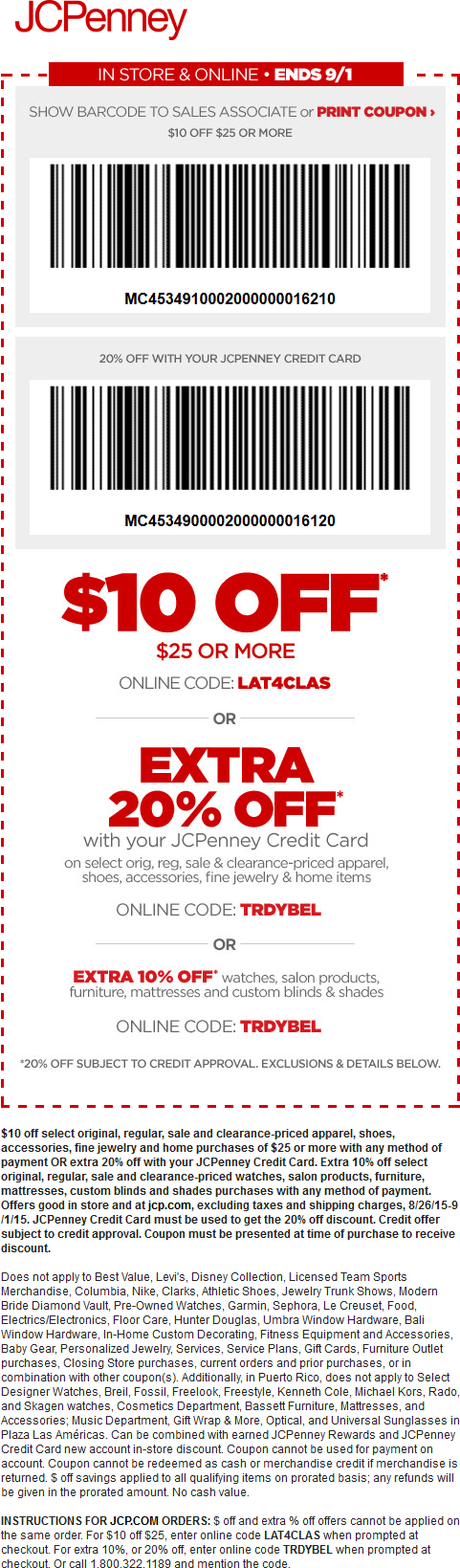 JCPenney Coupon September 2018 $10 off $25 at JCPenney, or online via promo code LAT4CLAS